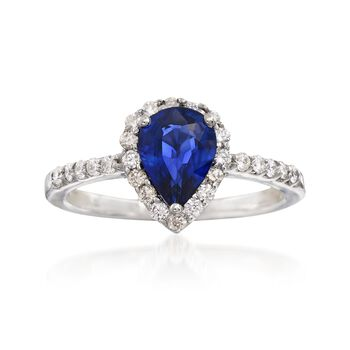 1.20 Carat Pear-Shaped Sapphire and .35 ct. t.w. Diamond Ring in 14kt White Gold, , default