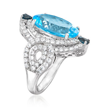 11.90 ct. t.w. Blue and White Topaz Ring in Sterling Silver