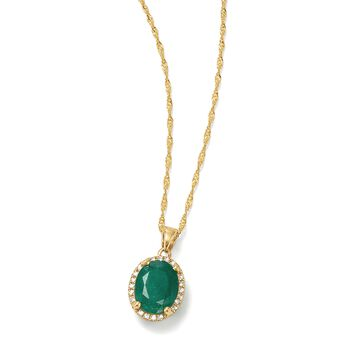 """1.70 Carat Emerald Pendant Necklace With Diamond Accents in 14kt Yellow Gold. 18"""", , default"""