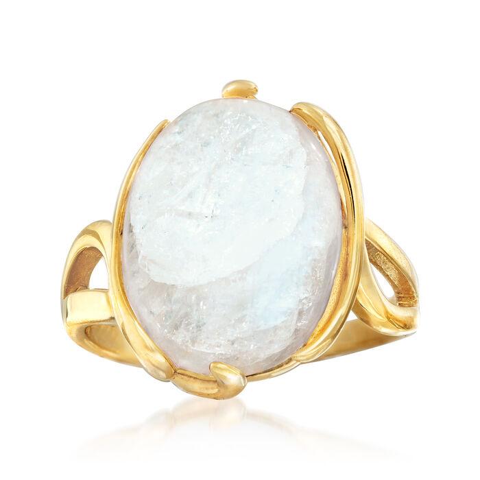 Moonstone Twisted Ring in 18kt Gold Over Sterling, , default
