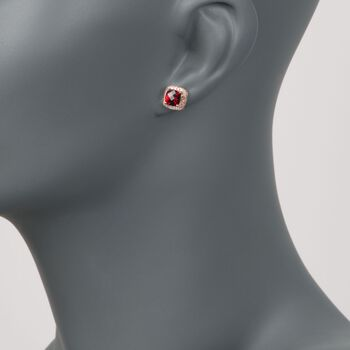 2.45 ct. t.w. Garnet and .16 ct. t.w. Diamond Stud Earrings in 14kt Rose Gold