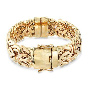 "14kt Yellow Gold Byzantine Bangle Bracelet. 7"""
