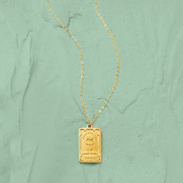 Italian 24kt Yellow Gold One-Gram Ingot Pendant Necklace with 14kt Yellow Gold Frame