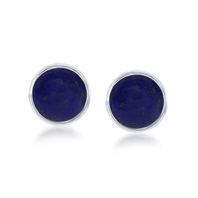 Bezel-Set Lapis Earrings in Sterling Silver, , default