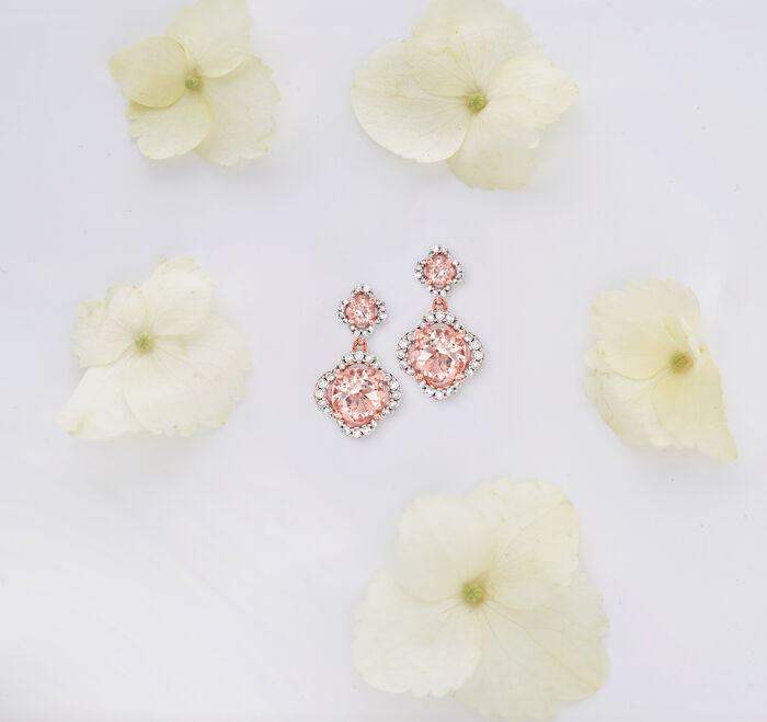 2.60 ct. t.w. Morganite and .41 ct. t.w. Diamond Drop Earrings in 14kt Rose Gold