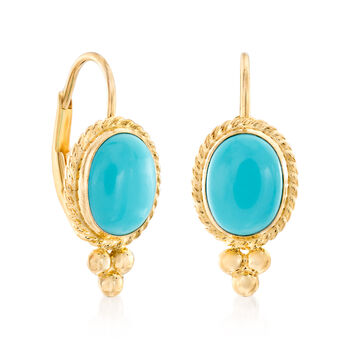 Turquoise Rope Edge Earrings in 14kt Yellow Gold, , default