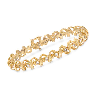 C. 1990 Vintage 2.00ct. t.w. Diamond Coil Bracelet in 14kt Yellow Gold