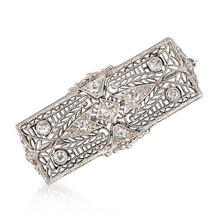 C. 1940 Vintage .45 ct. t.w. Diamond Filigree Pin in Platinum, , default