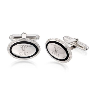 Sterling Silver Personalized Oval Cuff Links with Black Enamel , , default