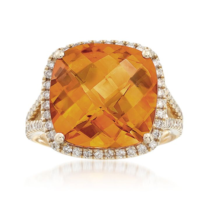 9.75 Carat Cushion-Cut Citrine and Diamond Ring in 14kt Yellow Gold, , default