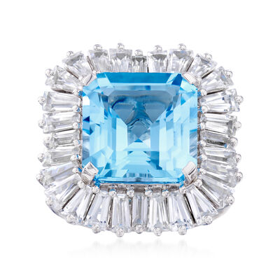 11.00 Carat Swiss Blue Topaz and 4.50 ct. t.w. White Zircon Ring in Sterling Silver, , default