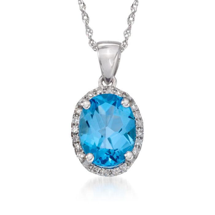 2.00 Carat Blue Topaz Pendant Necklace with Diamonds in 14kt White Gold