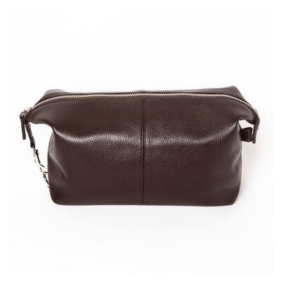 Brown Genuine Leather Toiletry Bag, , default