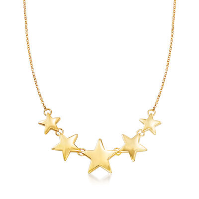 Italian 18kt Gold Over Sterling Graduated Star Necklace
