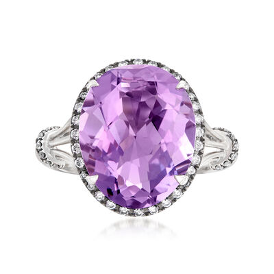 C. 2000 Vintage 5.00 Carat Amethyst and .22 ct. t.w. Diamond Halo Ring in 14kt White Gold, , default