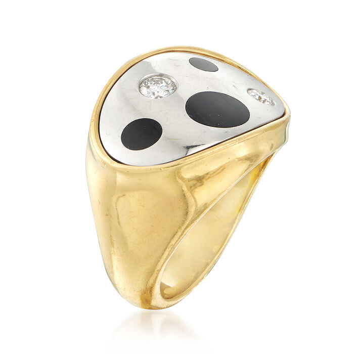 C. 1990 Vintage Black Onyx and .25 ct. t.w. Diamond Ring in 18kt Yellow Gold