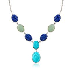 Blue and Green Multi-Stone Scarab Necklace in Sterling Silver, , default
