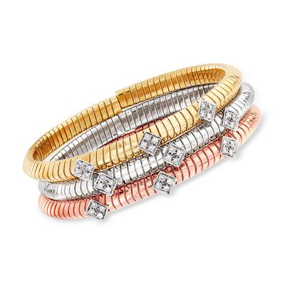 C. 1980 Vintage 1.08 ct. t.w. Diamond Jewelry Set: Three 18kt Tri-Colored Gold Bracelets, , default