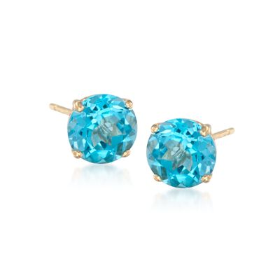 4.70 ct. t.w. Blue Topaz Stud Earrings in 14kt Yellow Gold, , default