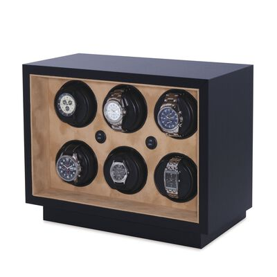 """Insafe"" Black Faux Leather Six-Module Watch Winder by Orbita, , default"