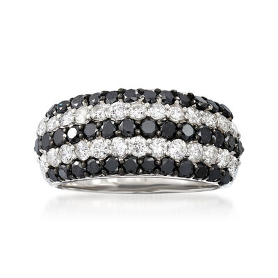 C. 1990 Vintage 2.00 ct. t.w. Black and White Diamond Five-Row Ring in 18kt White Gold