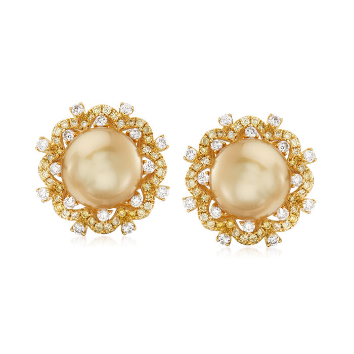 10-10.5mm Golden Cultured South Sea Pearl and .80 ct. t.w. Diamond Earrings in 18kt Yellow Gold