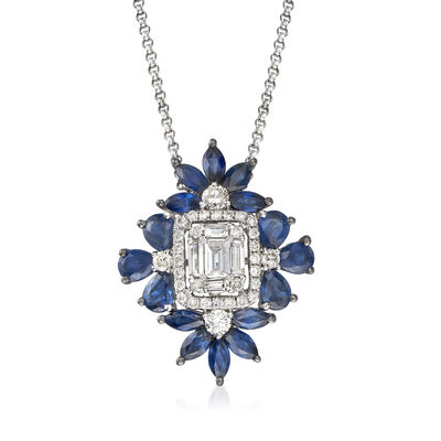 1.80 ct. t.w. Sapphire and .55 ct. t.w. Diamond Pendant Necklace in 18kt White Gold, , default