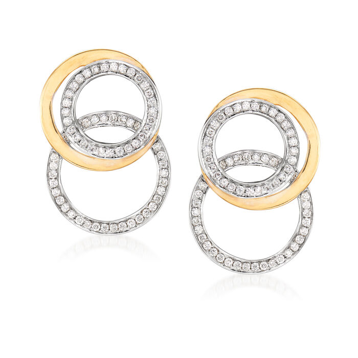 1.40 ct. t.w. Diamond Circle Drop Earrings in 18kt Two-Tone Gold, , default