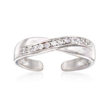 .10 ct. t.w. CZ Crisscross Toe Ring in Sterling Silver, , default