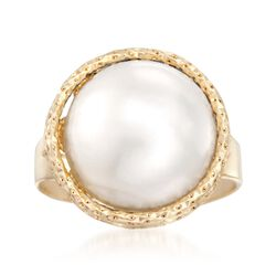 Italian 13.5mm Cultured Pearl Ring in 14kt Yellow Gold, , default