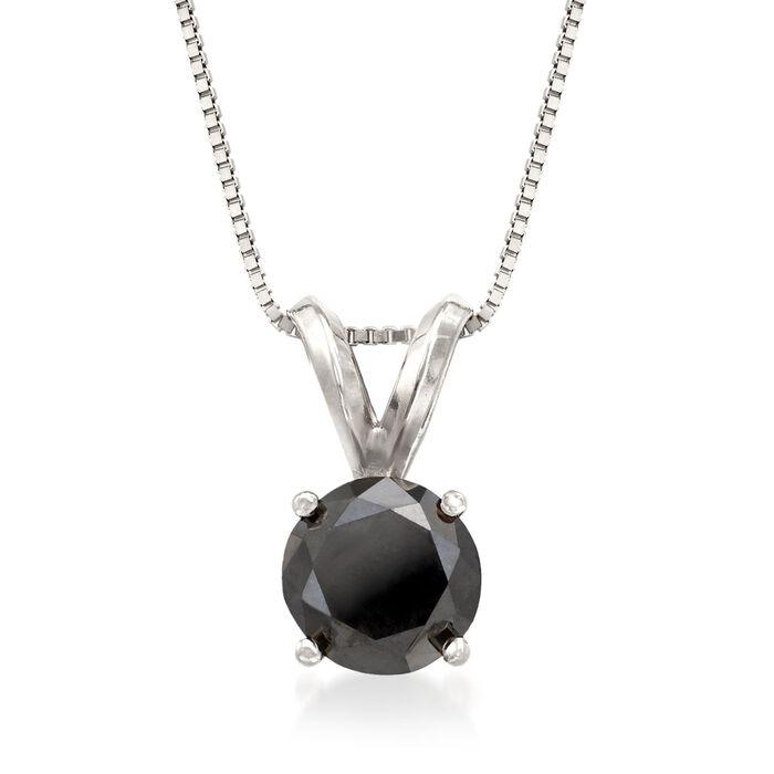 "1.00 Carat Black Diamond Solitaire Necklace in 14kt White Gold. 18"", , default"