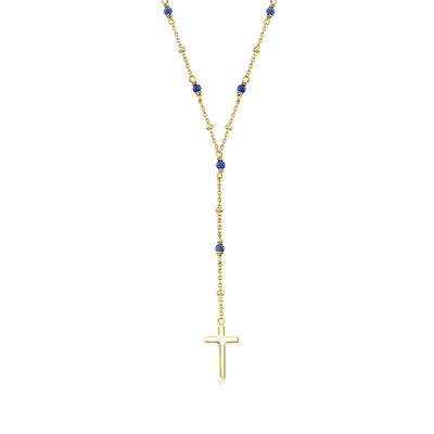 2.3mm Lapis Rosary Beads with Cross Necklace in 18kt Gold Over Sterling, , default