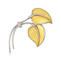 C. 1980 Vintage Sterling Silver Leaf Pin With Yellow Enamel , , default