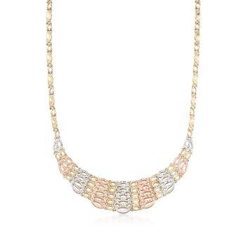 "14kt Tri-Colored Gold Collar Necklace. 20"", , default"