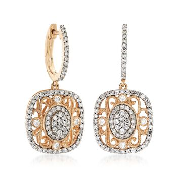 1.02 ct. t.w. Diamond Vintage-Style Drop Earrings in 14kt Yellow Gold , , default