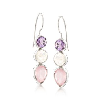 Moonstone and Rose Quartz Drop Earrings With 2.40 ct. t.w. Amethysts in Sterling Silver, , default