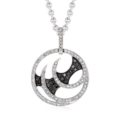 "C. 2012 Vintage Stephen Webster ""Fly by Night"" .95 ct. t.w. Black and White Diamond Swirl Pendant Necklace in 18kt White Gold with British Hallmark"