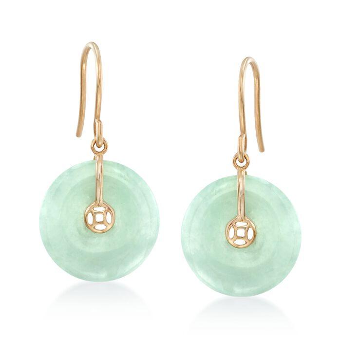15mm Jade Drop Earrings in 18kt Gold Over Sterling