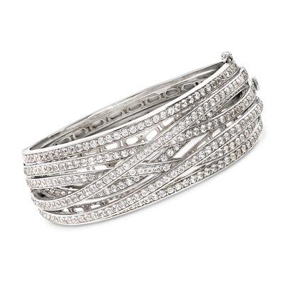 8.25 ct. t.w. White Topaz Highway Bangle Bracelet in Sterling Silver, , default