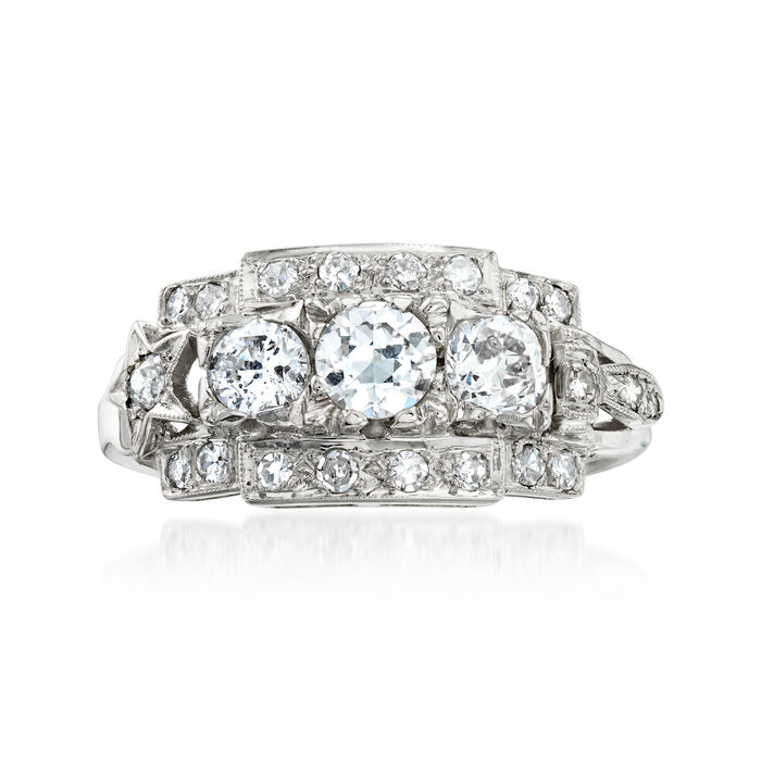 C. 1990 Vintage 1.05 ct. t.w. Diamond Ring in 14kt White Gold. Size 7.5, , default