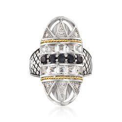 "Andrea Candela ""Art Deco"" 1.60 ct. t.w. White Topaz and Black Spinel Ring With Diamonds in Sterling Silver. Size 7, , default"