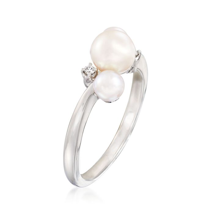 """Mikimoto """"Bubbles"""" 4-6mm A+ Akoya Pearl Ring with Diamond Accents in 18kt White Gold"""