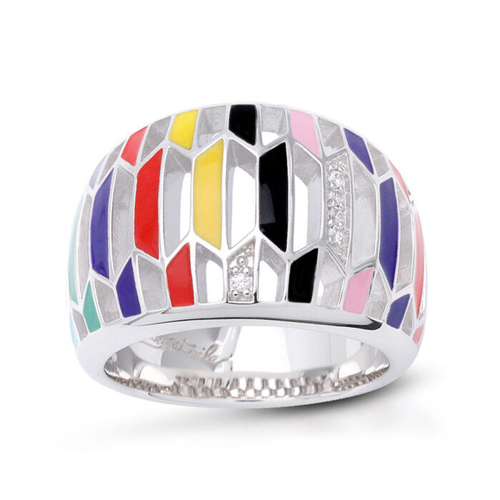 """Belle Etoile """"Trapezio"""" Multicolored Enamel Ring with CZ Accents in Sterling Silver"""