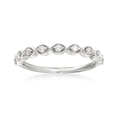 Henri Daussi .17 ct. t.w. Diamond Wedding Ring in 18kt White Gold, , default