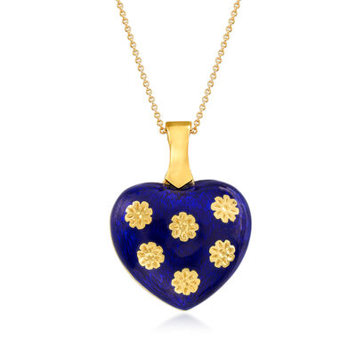 C. 1980 Vintage Blue Enamel Heart Pendant Necklace in 18kt Yellow Gold