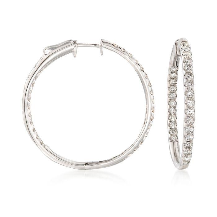 """2.00 ct. t.w. Diamond Inside-Outside Hoop Earrings in 14kt White Gold. 1 1/4"""", , default"""