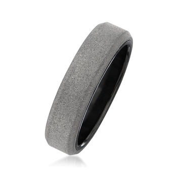 Men's 6mm Gray Tungsten Carbide Wedding Ring. Size 10