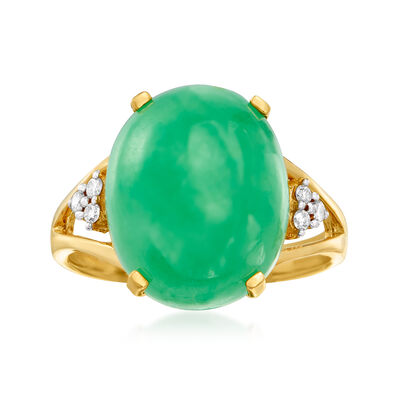 C. 1980 Vintage Green Jade and .10 ct. t.w. Diamond Ring in 14kt Yellow Gold