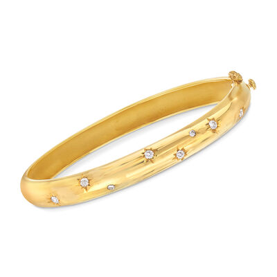 Mazza .36 ct. t.w. Diamond Star Bangle Bracelet in 14kt Yellow Gold