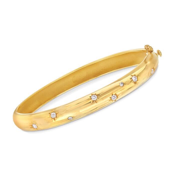Mazza .36 ct. t.w. Diamond Star Bangle Bracelet in 14kt Yellow Gold